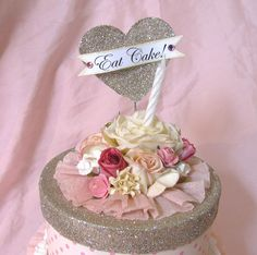 paper cake box with glitter, flowers and heart