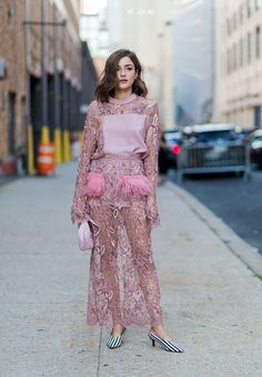 Eleonora Carisi wearing a dress outside Prabal Gurung on September 11 2016 in New York City