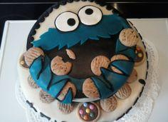 koekiemonster taart voor de verjaardag van Tom
