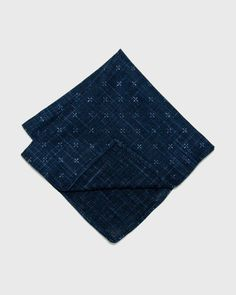 e9d634999a0d1 Kiriko - Pocket Square Navy Linen (Made in the USA) Japanese Denim, Japanese