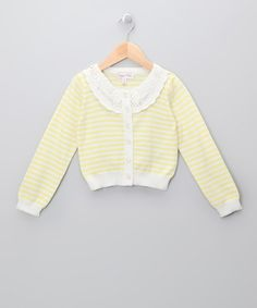 Take a look at this Lemon Stripe Cardigan - Infant, Toddler & Girls by Sugar Pink on #zulily today!
