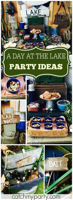 At this party, you can enjoy a day at the lake and fishing, too! See more party ideas at Catchmyparty.com!
