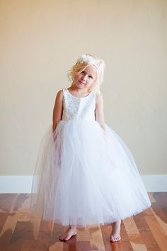 Ivory lace flower girl dress, lace first communion dress in white