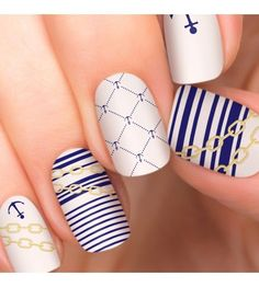 Yacht Party nail polish appliques by Incoco are nautical with mixed nail designs. Made of real nail polish, Incoco nail appliques require no drying time, last up to 14 days, and provide a salon quality manicure. Matte Nail Art, Best Acrylic Nails, Gel Nail Art, Nail Polish, Diy Nails Manicure, Cherry Nails, Party Nails, Oval Nails, Toe Nail Designs