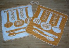 Potholder Cook Flatware pattern by Regina Schoenfeldt - Topflappen Sitricken Potholder Patterns, Crochet Potholders, Dishcloth Knitting Patterns, Knit Patterns, Double Knitting, Free Knitting, Crochet Kitchen, Crochet Chart, Knitting Projects
