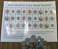 Daily 5 Series: Word Work with coin values!  How much is your name worth?
