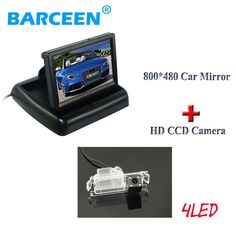 "4 led car reserve rear camera +4.3"" car screen monitor for Kia K2 Rio hatchback ceed 2013 for Hyundai Solaris(verna) hatchback"