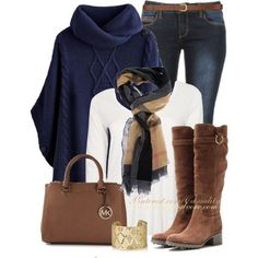 """""""Burberry Haymarket & Navy Poncho Sweater"""" by casuality on Polyvore"""
