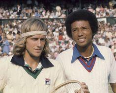 Bring back the tennis sweater! Bjorn Borg and Arthur Ashe, Wimbledon, 1975