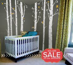 Birch Tree Wall Decals | Seven Birch Trees with Flying Birds | Baby Nursery, Children's Room Interior Designs | Easy Application 009 by InAnInstantArt on Etsy https://www.etsy.com/uk/listing/157530406/birch-tree-wall-decals-seven-birch-trees