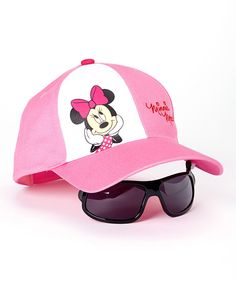 Another great find on #zulily! Pink Thinking Minnie Baseball Hat & Sunglasses - Girls by Minnie Mouse #zulilyfinds