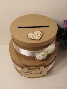 2 Tier Rustic Shabby Chic Wedding Card Box by breezemountain8, $59.99