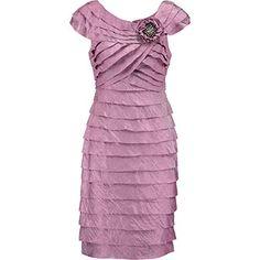 Magenta Shutter Pleat Corsage Dress