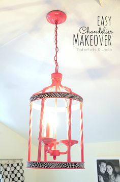 Easy Chandelier Makeover using Paint and fabric! -- Tatertots and Jello #DIY
