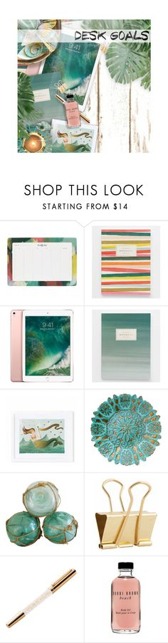 """""""Desk Goals"""" by kearalachelle ❤ liked on Polyvore featuring interior, interiors, interior design, home, home decor, interior decorating, Rifle Paper Co, Holly's House, Swarovski and Bobbi Brown Cosmetics"""