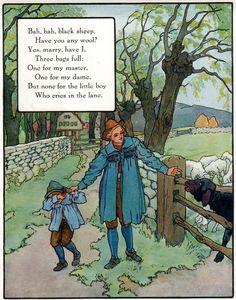 """""""Bah, bah, black sheep"""", aus: """"Mother Goose"""", Volland Popular Edition (1921), Illustration von Frederick Richardson (1862 - 1937)"""