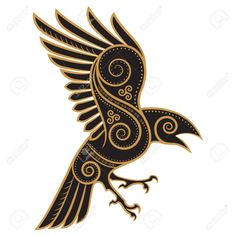 Odins Raven hand-drawn in Celtic style - – Millions of Creative Stock Photos, Vectors, Videos and Music Files For Your Inspiration a - Celtic Raven Tattoo, Celtic Tattoos, Viking Tattoos, Irish Tattoos, Nordic Symbols, Celtic Symbols, Celtic Art, Celtic Dragon, Art Viking