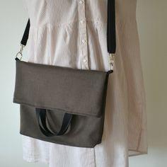 brown foldover purse / zero waste vegan / minimalist crossbody tote / eco friendly organic cotton / small laptop bag / sustainable / ethical
