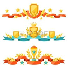 Decor with ribbons and awards in flat design style  Stock Vector