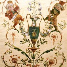 Pannelli decorativi | Grottesca francese dipinta su tela