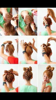 Upside down French braid bun bow