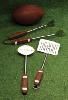 Football-themed BBQ tool set. Great Father's Day gift for Dad. Use it for tailgating!