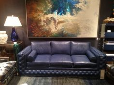 Gorgeous new leather - Monet Moonlight supports the trend of shades of blue seen throughout the showrooms this market.  Love it on the Webster sofa by Century Furniture. 305 W High Ave #hpmkt #stylespotters #blue