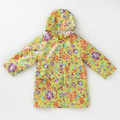 lime flower lined rain coat