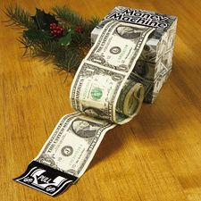 """Money machine. 4"""" high box, tape bills end to end w/removable tape. Roll, and insert in box -- Could be made as a  gift for a teen. Cover box with real or fake $ or make it from $."""