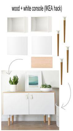DIY - Hanging 10 foot Credenza using IKEA wall units + wood @ $300 ...