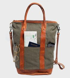 Canvas & Leather Helmet Tote Bag