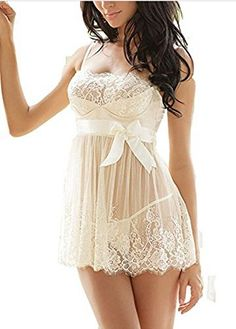 Amkylin Womens Sexy Lingerie Nightwear Sleepwear Underwear Babydoll with Gstring -- Details can be found by clicking on the image.