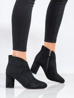 Čierne semišové členkové topánky Booty, Ankle, Shoes, Fashion, Moda, Swag, Zapatos, Wall Plug, Shoes Outlet