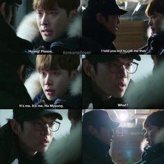 Such a good scene! Pinocchio ♥ btw hyung means brother in Korean :) Korean Drama Quotes, Korean Drama Movies, Korean Dramas, Korean Actors, Lee Jong Suk Pinocchio, Kyun Sang, Emergency Couple, Cry Now, Jung Suk
