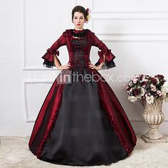 Steampunk®Burgundy and Black Long Sleeves Satin Classic Victorian Dress Medium Wine Long Party Dresses - USD $129.99