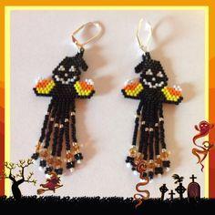 Black Halloween Ghost Beaded Earrings by Bead4Fun on Etsy, $25.00