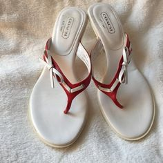 """Coach Red & White Bow Sandals Coach Red & White Bow Sandals. Made in Italy. Gently used condition. Size 9B.  Approximately 2-1/2"""" heel. Coach Shoes Sandals"""