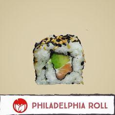 Philadelphia roll (Salmón aguacate y queso philadelphia con topping de ajonjolí). Piezas por rollo: 10 pz. #leifong #sushi Tel. 2563-7541 www.leifong.info