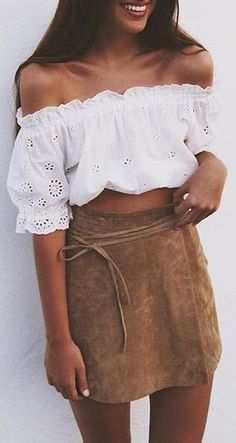 summer outfits White Off The Shoulder Crop + Camel Suede Skirt