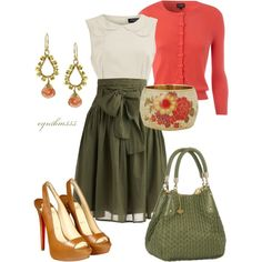 Coral cardigan, olive high waisted skirt and white tank with yellow accents in the shoes and purse. Perfection!