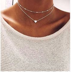 #Silver Gold Color# Jewelry Love #Heart#Necklaces & Pendants Double Chain Choker Necklace Collar Women Statement Jewelry Bijoux. US $1.13 / piece