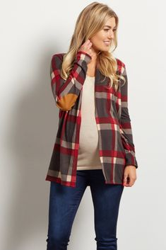 This plaid open maternity cardigan is perfect for fall layering this season. Not only will this plaid maternity cardigan keep you from the cold, but it also stands out from the rest with an elbow patch detail. Wear this maternity cardigan over any basic cami or tee for a complete look