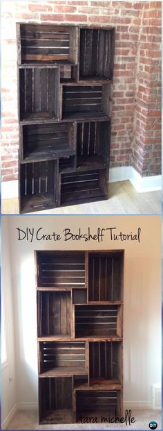 DIY Wood Crate Bookshelf Instructions - DIY Wood Crate Furniture Ideas Projects