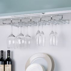 For above the TV area, maybe to be hung from the ceiling  //  OIA Wall Mount Wine Glass Rack & Reviews   Wayfair
