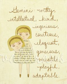 Gemini...that describes my daughter and grand-daughter to a T! By ValDraws on Etsy