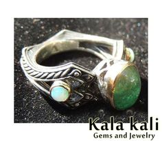 Genuine Green Emerald and 2 Flashy Opals set in 18K Gold on a High detail Sterling Silver unisex Ring 8 1/4USA    18.25MM on Etsy, $424.03