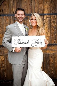 Wedding Sign THANK YOU Wedding Sign 18x7 Photo Prop for Thank You photos on Etsy, $24.95
