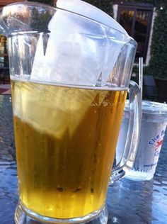 Keep your pitcher of beer (or any other beverage) cold by putting a plastic cup of ice in it.