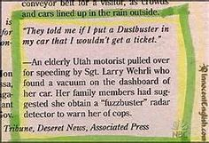 Hilarious! Dustbuster speeding ticket. | #criminology #funny #criminals