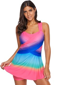 351588e37e3c8 Women Pink Tie Dye Print 2 PC Tankini Swim Dress With Shorts Beach Swim  Wear Swimsuit